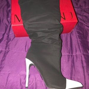 Black and White Knee boot..*Worn Once*
